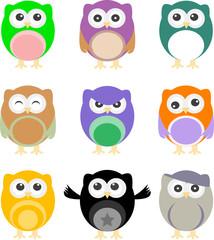 illustration of colorful cartoon owls set