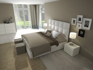 modernes schlafzimmer mit dekoration
