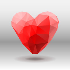Polygon red Heart isolated on white, vector Eps10 illustration.
