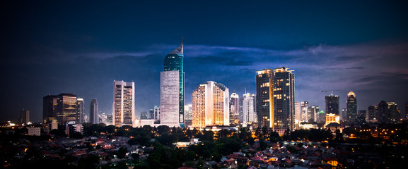 Fototapete - Panoramic cityscape of Indonesia capital city Jakarta