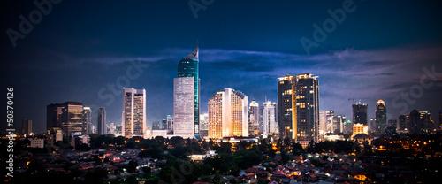 Fototapete Panoramic cityscape of Indonesia capital city Jakarta