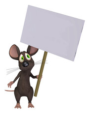 Mouse holding a sign