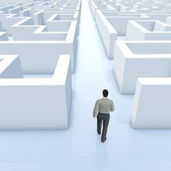 Businessmann geht durch das Labyrinth - Illustration