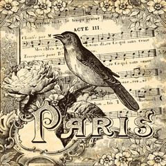 Fond de hotte en verre imprimé Affiche vintage Paris vintage