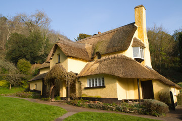 Thatched cottage in an English village