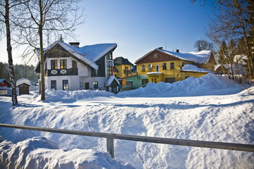 village Harrachov  in wintertime, Czech Republic