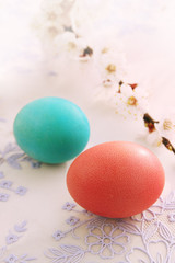 Easter eggs with apricot branch