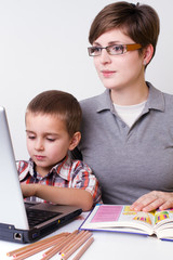 boy learn with his mom