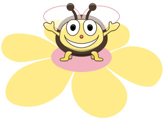 Happy Cartoon Bee on Flower