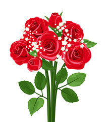 Bouquet of red roses. Vector illustration.