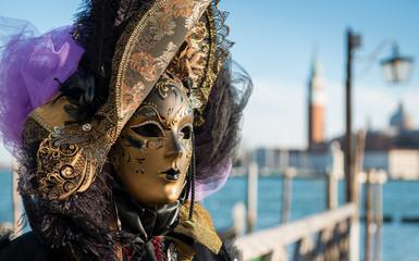 Wall Mural - Golden Venetian Carnival Mask