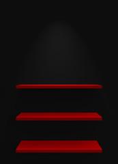 Drei Regale an Wand mit Beleuchtung - Schwarz Rot