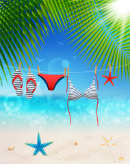 Wall Mural - Hanging swimsuit on seascape background. Vector illustration.
