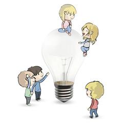 Kids around bulb.