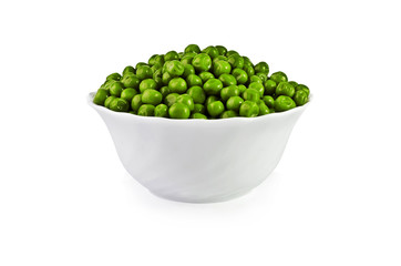 Green peas in a salad bowl isolated over white