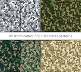 Abstract camouflage seamless texture. 4 type in 8 variations
