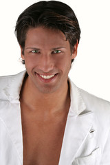 Beautiful white smile of an young sexy man.