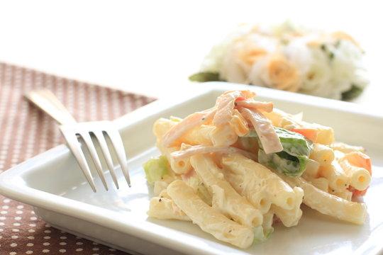 homemade food, macaroni and vegetable salad