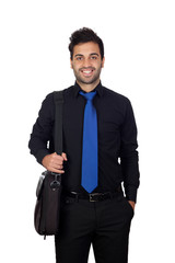 Young businessman with a briefcase for laptop