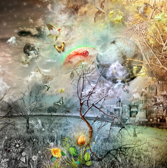Poster Imagination Wonderland with Golden tulip
