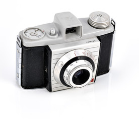 vintage camera on white background.