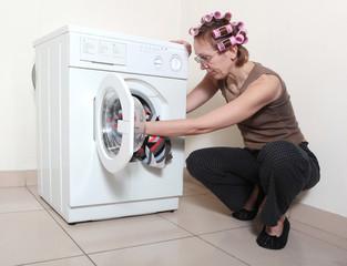 Washing machine and woman