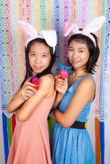 Cute Asian bunny girls
