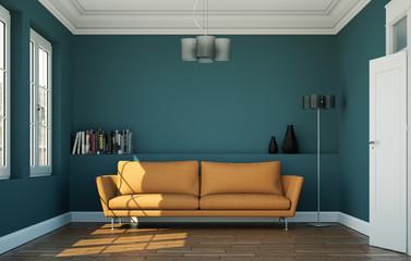 Sofa orange im Zimmer