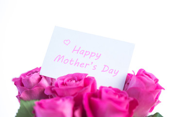 Bouquet of pink roses with happy mothers day card