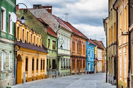 Medieval street in Brasov, Romania