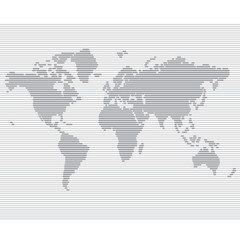 Poster Wereldkaart striped line world map vector template