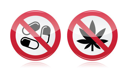 Addiction problem - no drugs, no marihuana warning sign