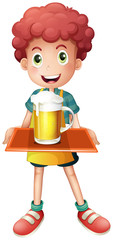 A young boy with a mug full of cold beer