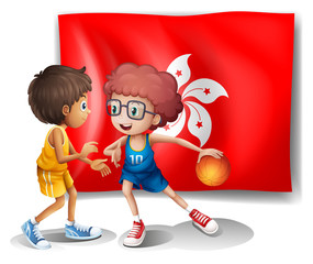 The flag of Hongkong at the back of the basketball players
