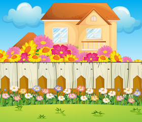 A house with blooming flowers