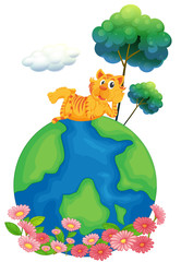 A tiger at the top of a globe