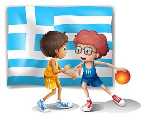 Boys playing basketball with the flag of Greece