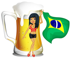 A big mug of beer with a brazilian lady