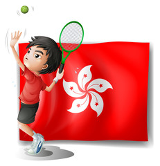 The flag of Hongkong with a tennis player