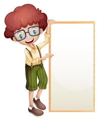 A boy showing an empty frame