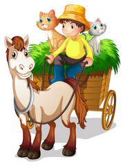 Deurstickers Katten A farmer riding in a strawcart with his farm animals