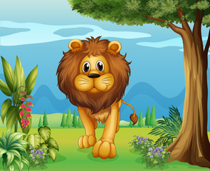 A big lion in the garden