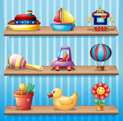 Three wooden shelves with different toys
