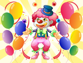 A dozen of colorful balloons with a clown
