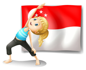 A girl with the flag of Singapore