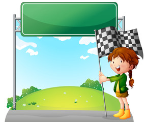 A girl holding a racing flag