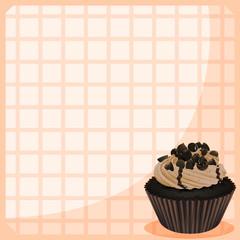 A chocolate cupcake in  a frame
