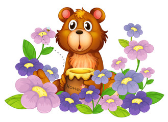 Fotorollo Baren A bear holding a honey in the flower garden