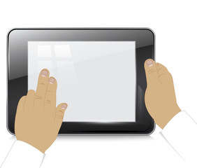 Tablet computer in  businessman hands , on a white background. V