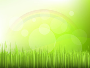 Morning scenery (rainbow in the grass)
